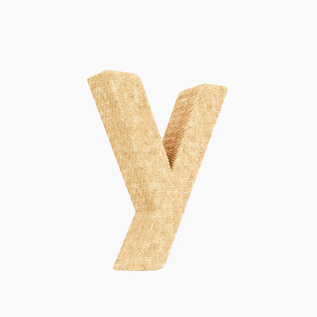Woven wicker lower case letter y 3d render on a pure white background.