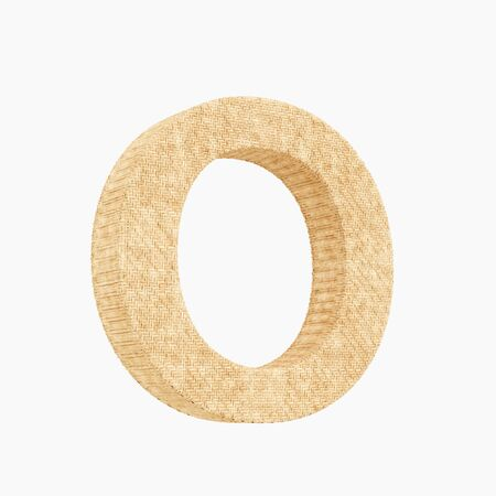Woven wicker upper case letter o 3d render on a pure white background.