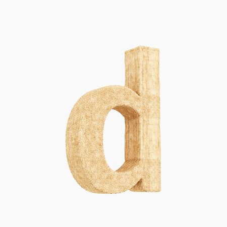 Woven wicker lower case letter d 3d render on a pure white background.
