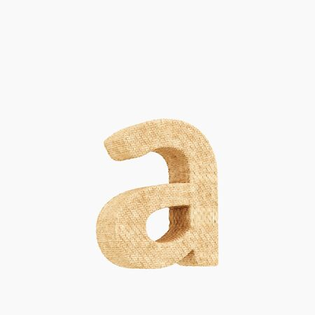 Woven wicker lower case letter a 3d render on a pure white background.