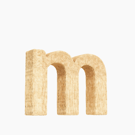 Woven wicker lower case letter m 3d render on a pure white background. Stock fotó