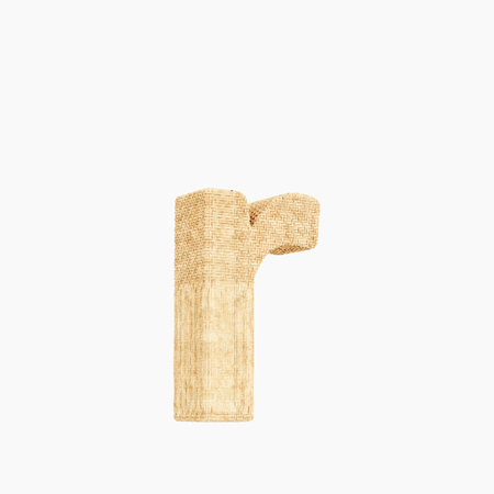 Woven wicker lower case letter r 3d render on a pure white background.