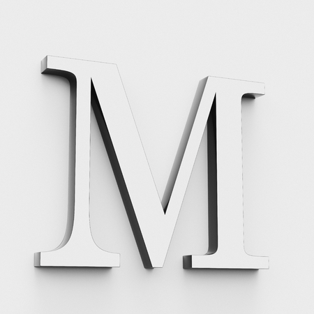 Upper case letter M in a modern elegant style on a white background. This a 3d render.