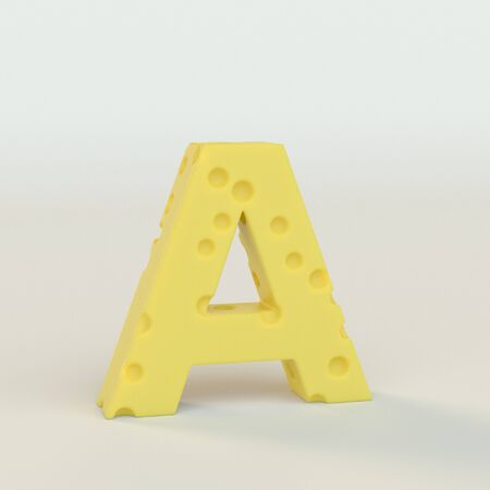 Upper case Swiss cheese letter A on a white studio seamless. This is a 3d render Stock Photo