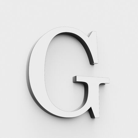 Upper case letter G in a modern elegant style on a white background. This a 3d render. Stock fotó
