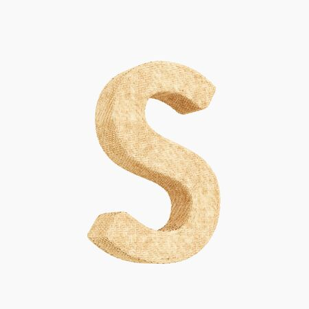 Woven wicker upper case letter s 3d render on a pure white background.