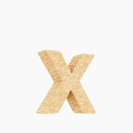 Woven wicker lower case letter x 3d render on a pure white background.