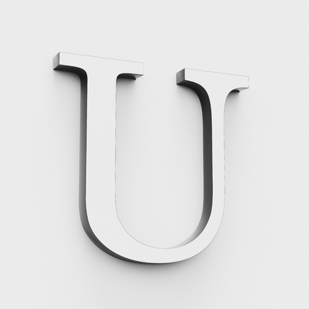 Upper case letter U in a modern elegant style on a white background. This a 3d render.
