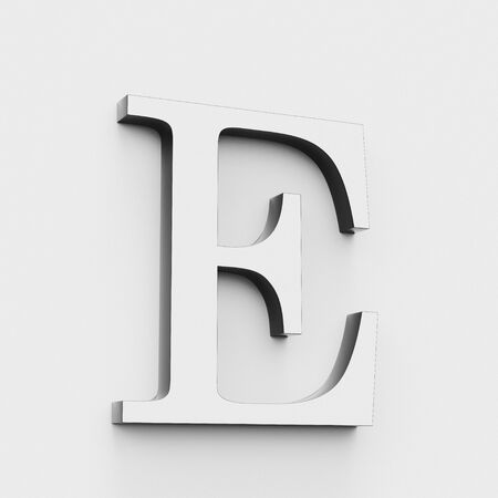 Upper case letter E in a modern elegant style on a white background. This a 3d render. Reklamní fotografie