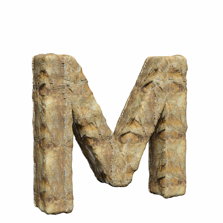 Roughly textured and warmly toned number m on a pure white background. This is a 3d render.