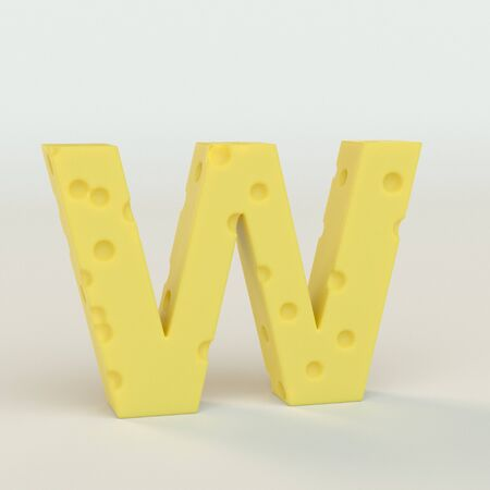 Upper case Swiss cheese letter W on a white studio seamless. This is a 3d render