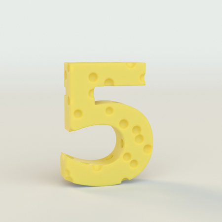 Swiss cheese number 5. 3d illustration in on a white studio seamless.