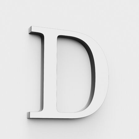 Upper case letter D in a modern elegant style on a white background. This a 3d render.