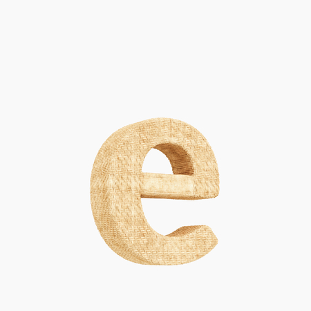 Woven wicker lower case letter e 3d render on a pure white background. Reklamní fotografie