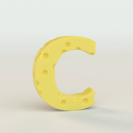 Upper case Swiss cheese letter C on a white studio seamless. This is a 3d render Reklamní fotografie