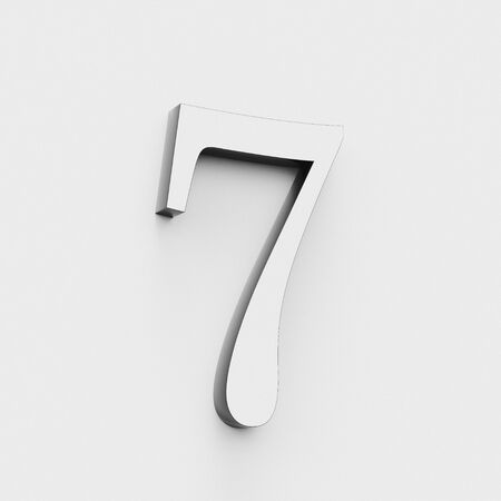 Number 7 in a modern elegant style on a white background. This a 3d render.
