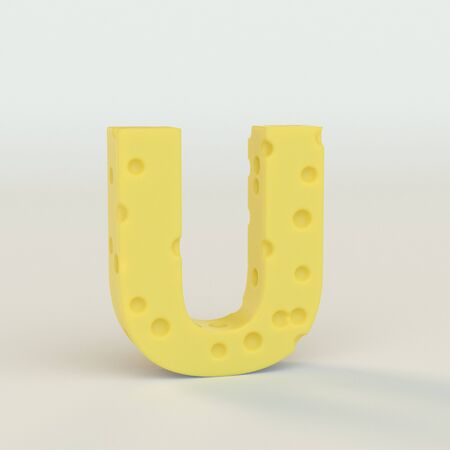 Upper case Swiss cheese letter U on a white studio seamless. This is a 3d render Reklamní fotografie