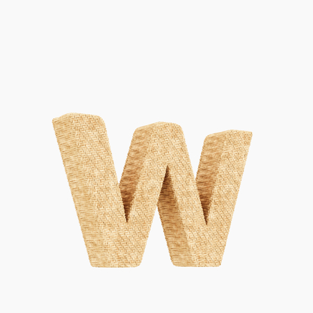 Woven wicker lower case letter w 3d render on a pure white background.