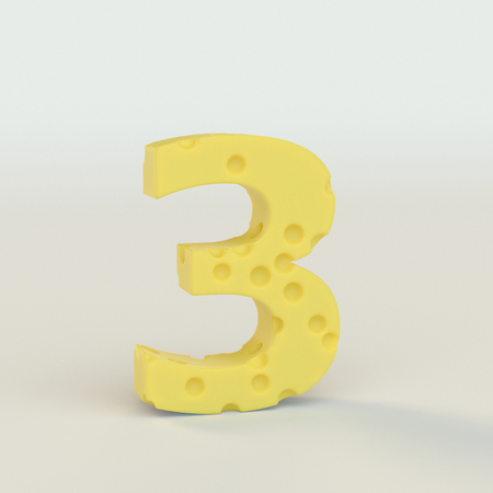 Swiss cheese number 3. 3d illustration in on a white studio seamless.