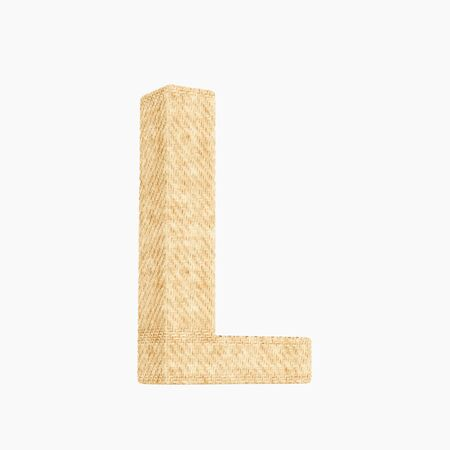Woven wicker upper case letter l 3d render on a pure white background.