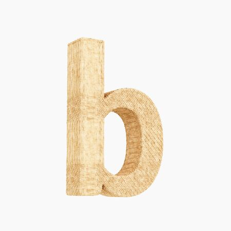Woven wicker lower case letter b 3d render on a pure white background.