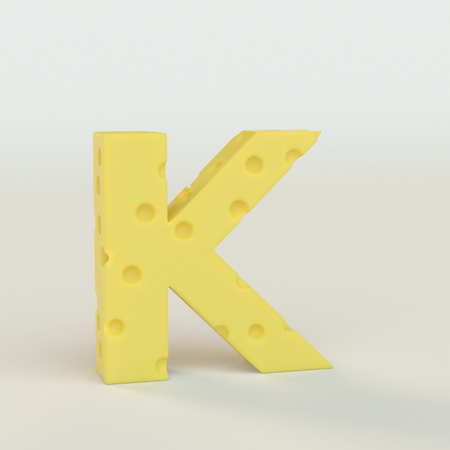 Upper case Swiss cheese letter K on a white studio seamless. This is a 3d render