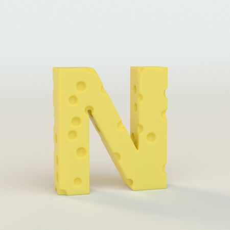 Upper case Swiss cheese letter N on a white studio seamless. This is a 3d render Reklamní fotografie