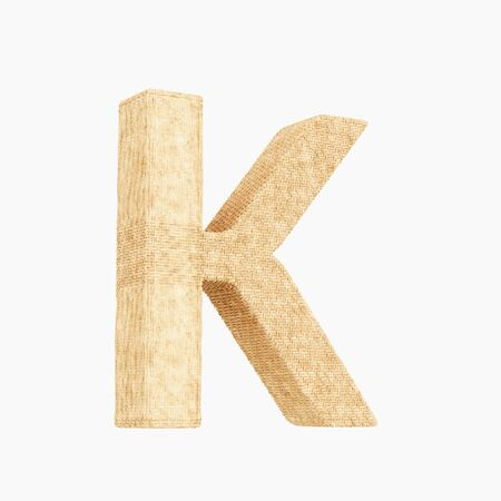 Woven wicker upper case letter k 3d render on a pure white background.