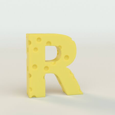 Upper case Swiss cheese letter R on a white studio seamless. This is a 3d render Reklamní fotografie
