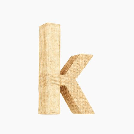 Woven wicker lower case letter k 3d render on a pure white background. Reklamní fotografie