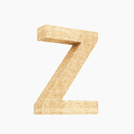 Woven wicker upper case letter z 3d render on a pure white background. Reklamní fotografie