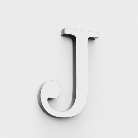 Upper case letter J in a modern elegant style on a white background. This a 3d render. Reklamní fotografie