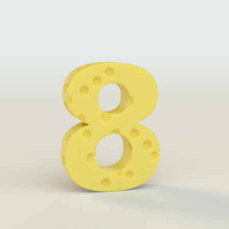 Swiss cheese number 8. 3d illustration in on a white studio seamless.