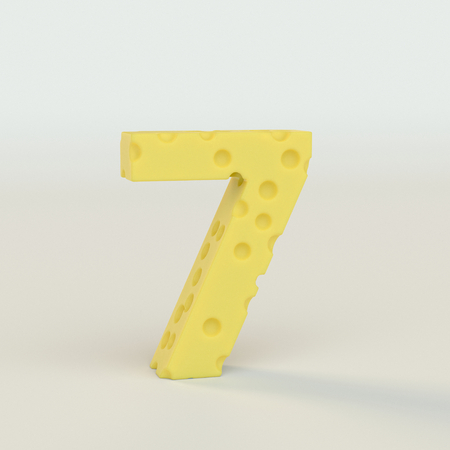 Swiss cheese number 7. 3d illustration in on a white studio seamless.