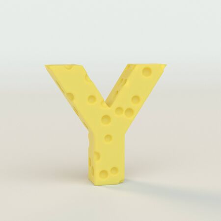 Upper case Swiss cheese letter Y on a white studio seamless. This is a 3d render Reklamní fotografie