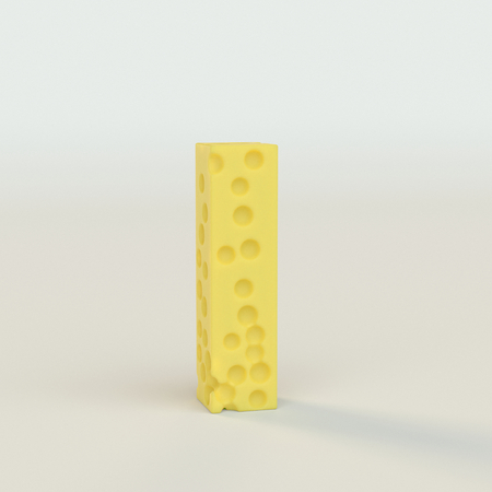 Upper case Swiss cheese letter I on a white studio seamless. This is a 3d render