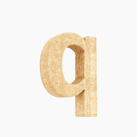 Woven wicker lower case letter q 3d render on a pure white background.