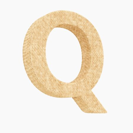 Woven wicker upper case letter q 3d render on a pure white background. Reklamní fotografie