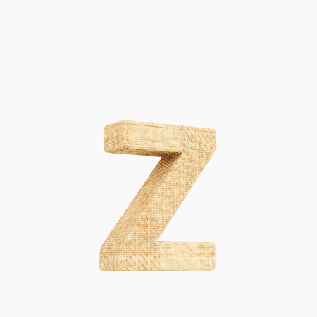 Woven wicker lower case letter z 3d render on a pure white background. Reklamní fotografie