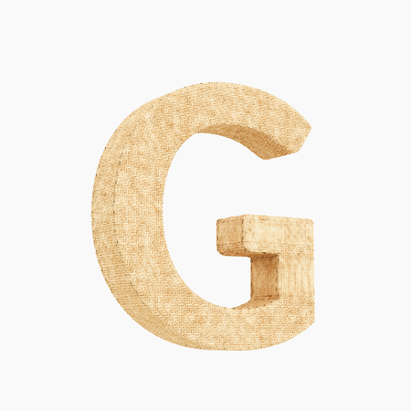 Woven wicker upper case letter g 3d render on a pure white background.