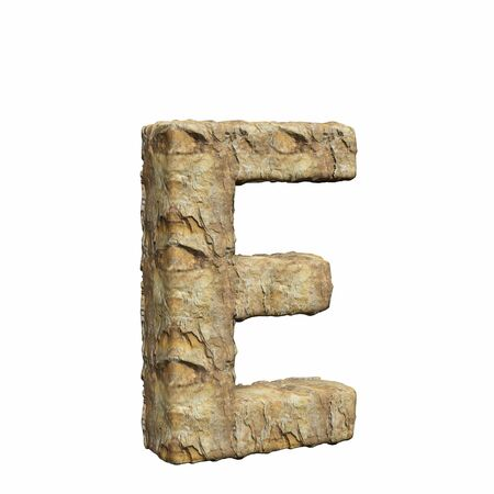 Roughly textured and warmly toned number e on a pure white background. This is a 3d render.