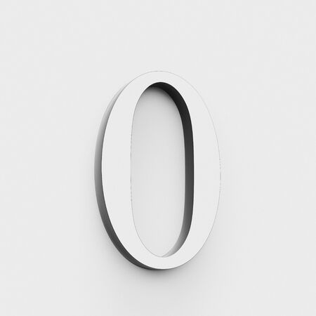 Number 0 in a modern elegant style on a white background. This a 3d render.