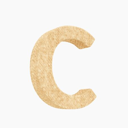 Woven wicker upper case letter c 3d render on a pure white background. Reklamní fotografie