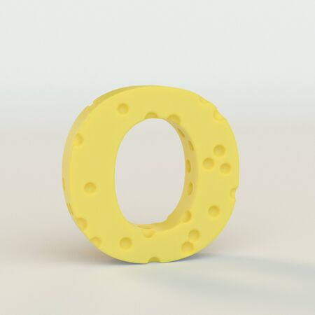 Upper case Swiss cheese letter O on a white studio seamless. This is a 3d render Reklamní fotografie