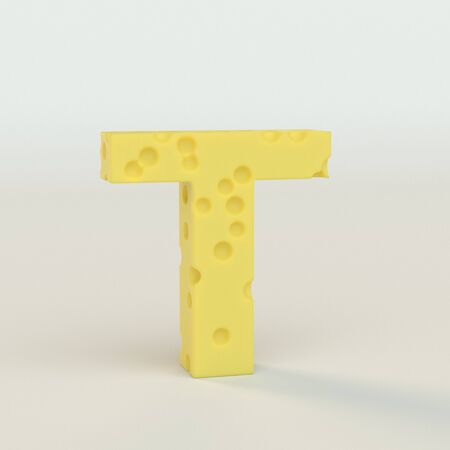 Upper case Swiss cheese letter T on a white studio seamless. This is a 3d render Reklamní fotografie