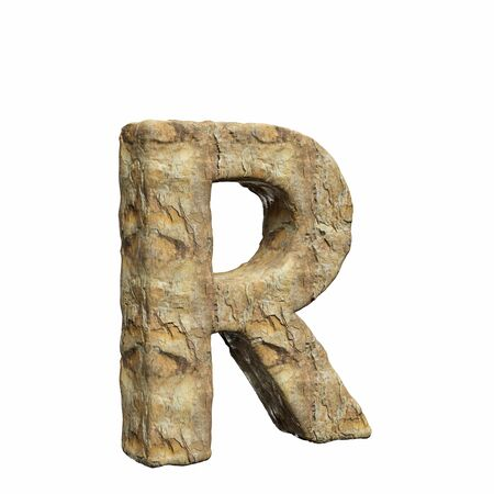 Roughly textured and warmly toned number r on a pure white background. This is a 3d render. Reklamní fotografie