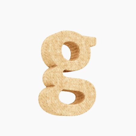 Woven wicker lower case letter g 3d render on a pure white background. Reklamní fotografie