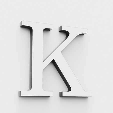 Upper case letter K in a modern elegant style on a white background. This a 3d render. Reklamní fotografie