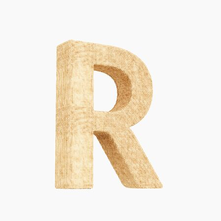 Woven wicker upper case letter r 3d render on a pure white background. Reklamní fotografie