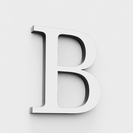 Upper case letter B in a modern elegant style on a white background. This a 3d render.